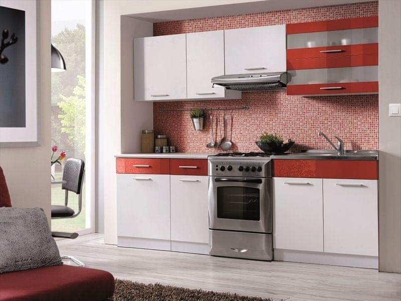 Kuchyně MARTINA COM 180/240 cm, bílá/červený lesk