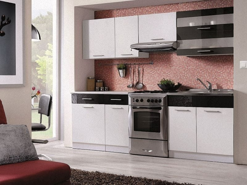 Kuchyně MARTINA COM 180/240 cm, bílá/černý lesk
