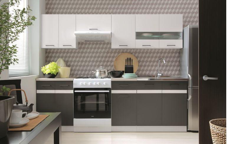 Kuchyně JUNONA LINE 180/240 cm, bílý lesk/šedý wolfram
