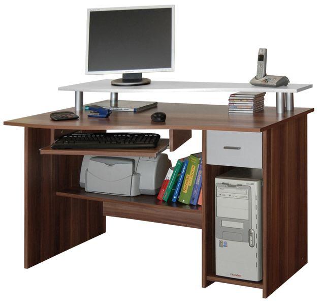 Kancelářský PC stůl LEON, švestka/bílá