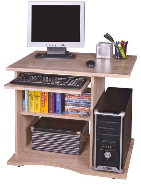 Praktický PC stůl s výsuvnou deskou OLIN, dub sonoma