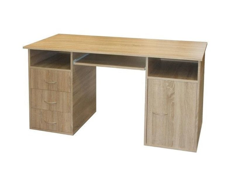 Praktický PC stůl se zásuvkami a skříňkou 50194, dub sonoma