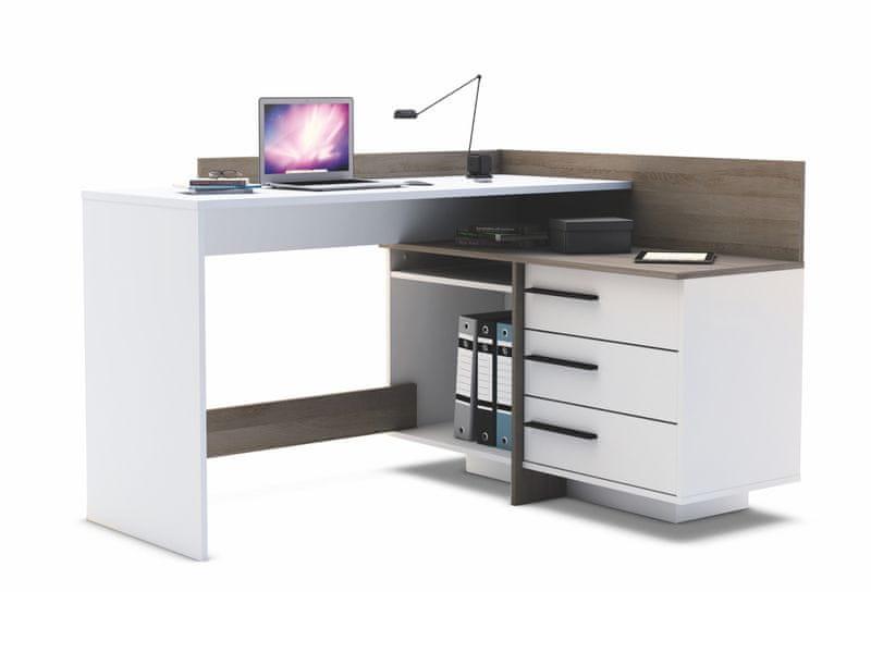 TALES, univerzální rohový psací stůl, tmavý dub/bílá