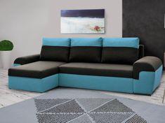 Rohová sedačka MORY KORNER, černá/modrá