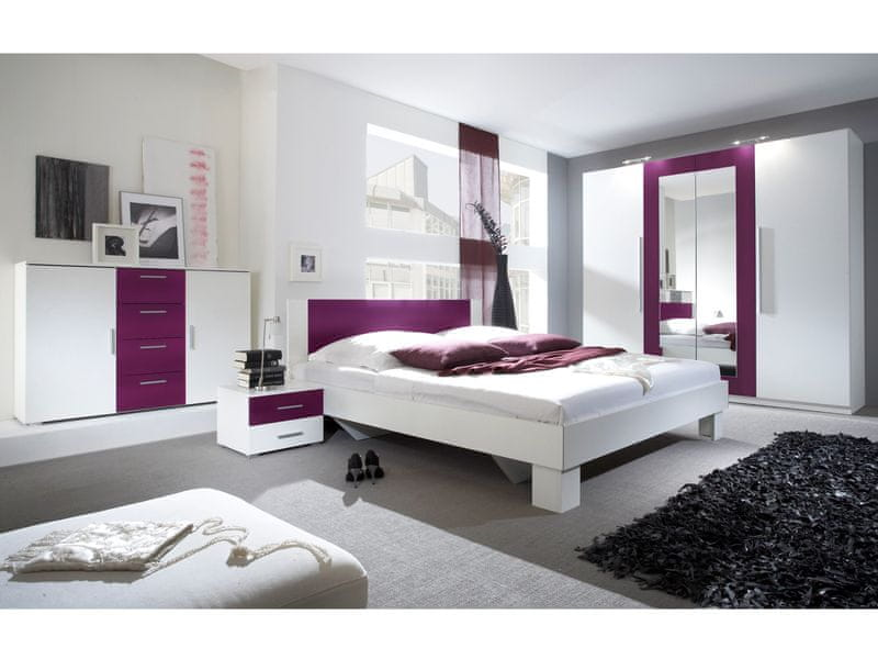 VERA ložnice s postelí 180x200, bílá/fialová