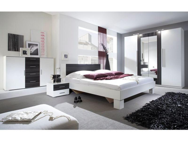VERA ložnice s postelí 180x200, bílá/ořech černý
