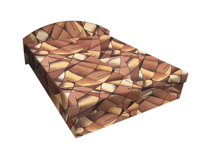 Čalouněná postel ÁJA 180x200 cm, hnědožlutá látka