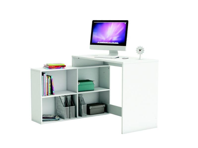 Univerzální rohový psací stůl KORNER, bílá