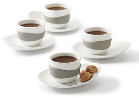 PO Leaf sada espresso šálků s podšálky šedá