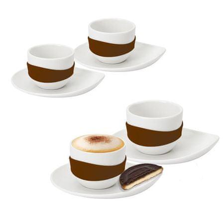 PO komplet espresso skodelic, rjav