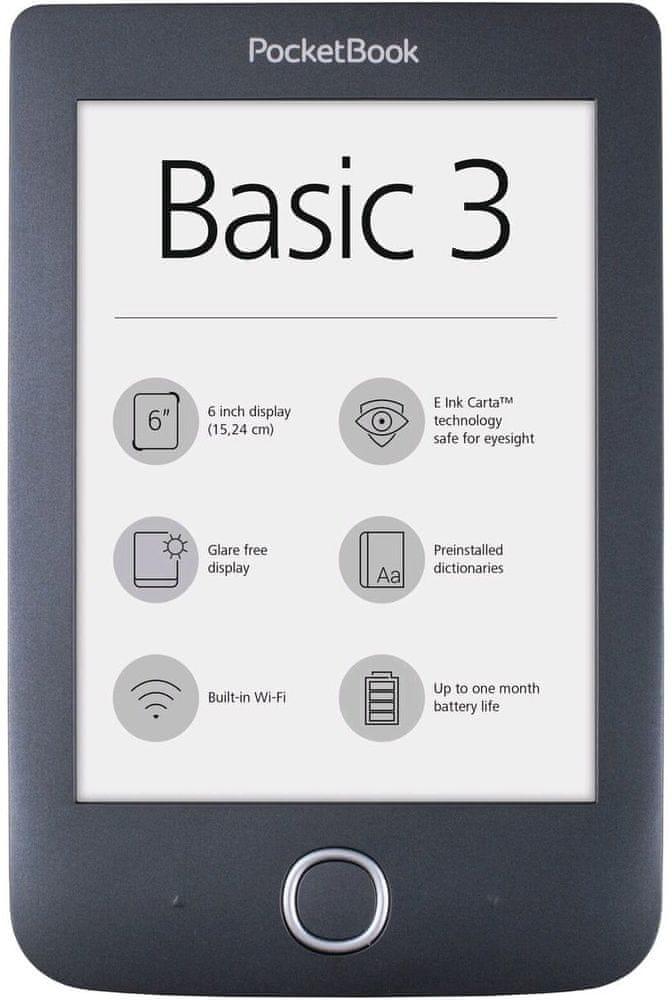 PocketBook 614+ Basic 3, černý