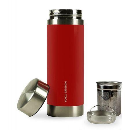Yoko Design termos z sitami do herbaty, 350 ml, czerwony