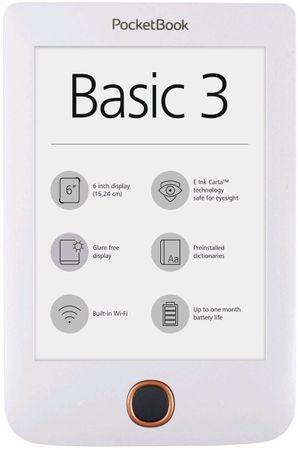 PocketBook 614+ Basic 3 E-Book olvasó, Fehér (PB614W-2-D-WW)