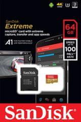 SanDisk spominska kartica Extreme microSDXC A1, 64GB