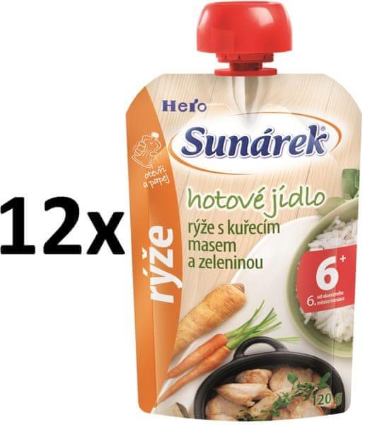 Sunárek rýže s kuřecím masem a zeleninou 12x120g