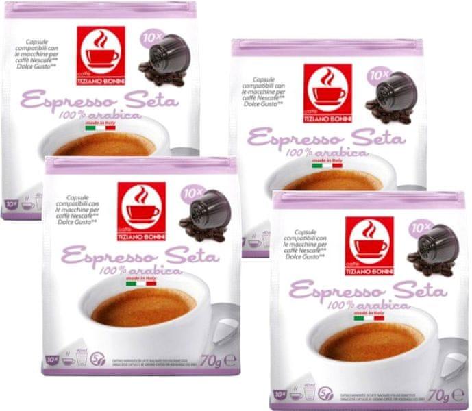 Tiziano Bonini Seta kapsle pro kávovary Dolce Gusto 10 ks, 4 balení