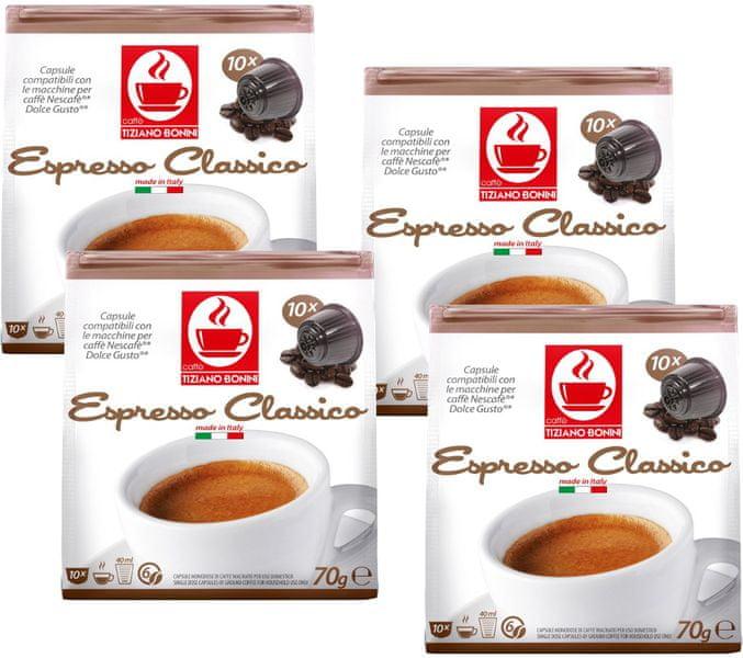 Tiziano Bonini Classico kapsle pro kávovary Dolce Gusto 10 ks, 4 balení