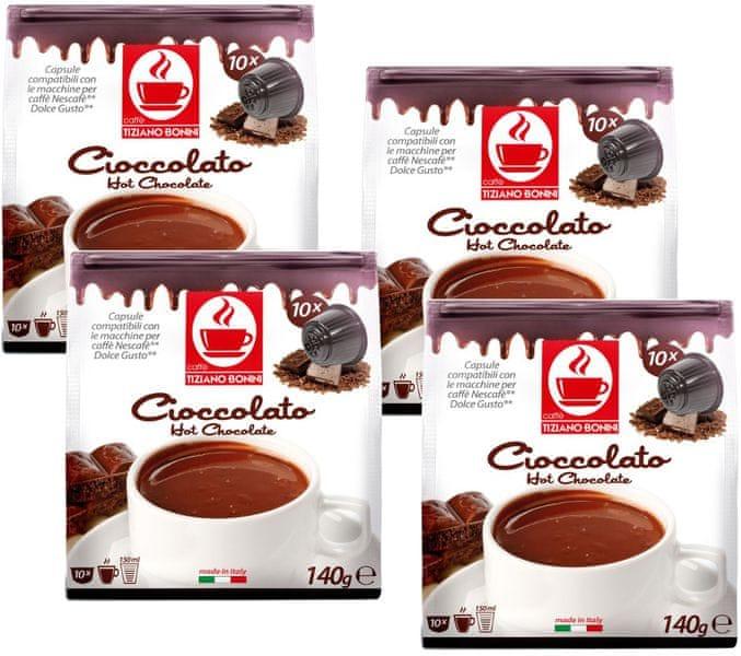 Tiziano Bonini Chocolate kapsle pro kávovary Dolce Gusto 10 ks, 4 balení
