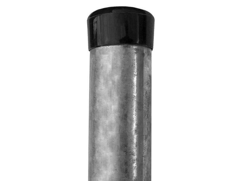 Plotový sloupek Zn 2000/48, včetně černé čepičky