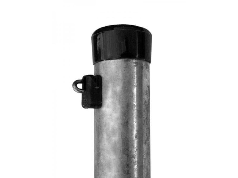 Plotový sloupek Zn 2400/48, včetně černé čepičky a černé příchytky