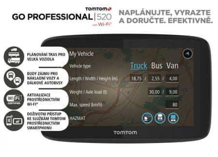 TomTom GO PROFESSIONAL 520 - LIFETIME térképek forgalmi szolgáltatással és radar-figyelmeztetésekkel.