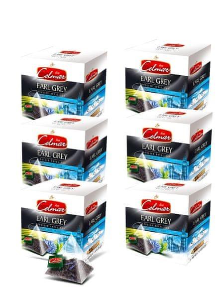 Celmar Earl Grey English Royal Tea čaj, 20 pyramidových sáčků. 6 balení