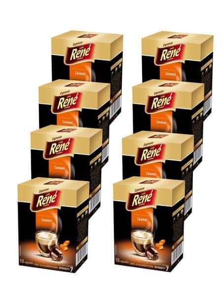 René Káva příchuť Caramel kapsle pro kávovary Nespresso 10 ks, 8 balení