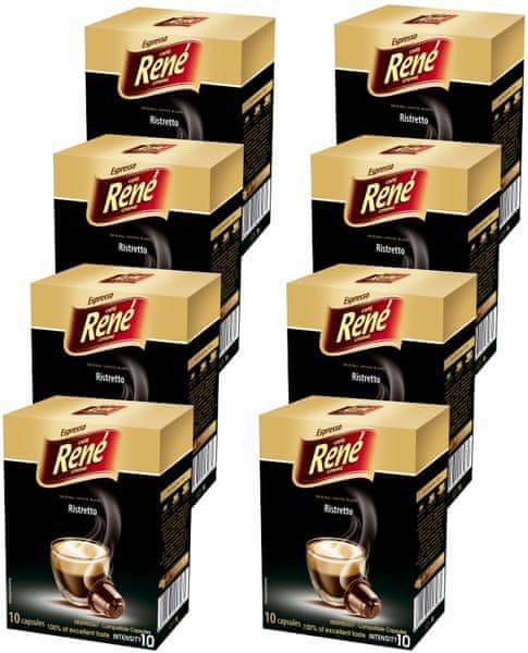 René Ristretto kapsle pro kávovary Nespresso 10 ks, 8 balení