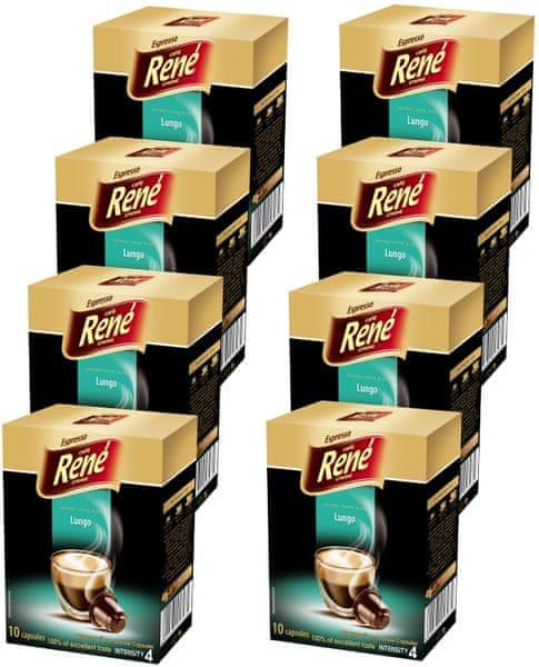 René Espresso Lungo kapsle pro kávovary Nespresso 10 ks, 8 balení