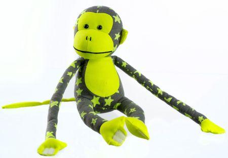 Teddies Opice svítící ve tmě - šedá/žlutá