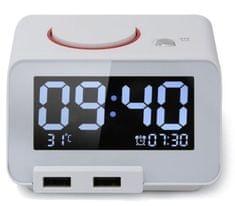 Homtime digitalna alarm ura bela/dual USB za polnjenje