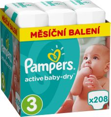 Pampers Pieluchy Active Baby 3 Midi - 208 sztuk