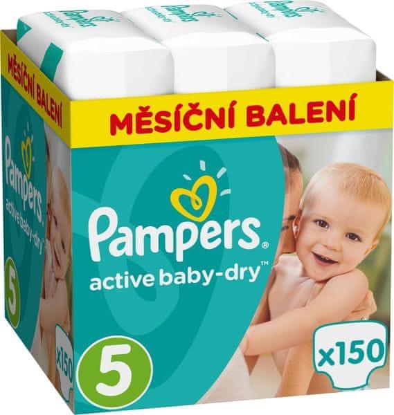 Pampers Pleny Active Baby 5 Junior (11-18kg) Měsíční balení - 150 ks