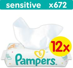 Pampers Sensitive Törlőkendő, 12 x 56 db