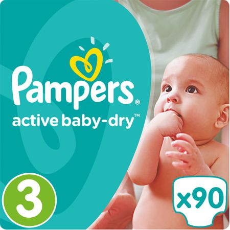 Pampers Pieluchy Active Baby 3 Midi (5-9 kg) Giant Pack - 90 szt.