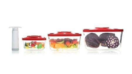 Status vakuumski 4 delni set steklenih posod (0,5L+1,5L+3,0L+Vak črpalka), rdeč