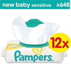 Pampers Sensitive Törlőkendő, 12×54 db