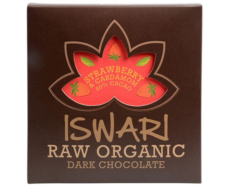 Iswari Raw čokoláda - Strawberry & Cardamom 80 % BIO 75 g