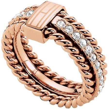Tommy Hilfiger Nádherný bronzový prsteň s kryštálmi TH2700609 (Obvod 58 mm)