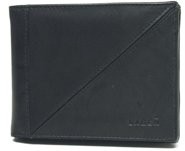 Lagen Pánská černá kožená peněženka Black 7175