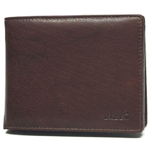 Lagen Pánská hnědá kožená peněženka Brown V-3
