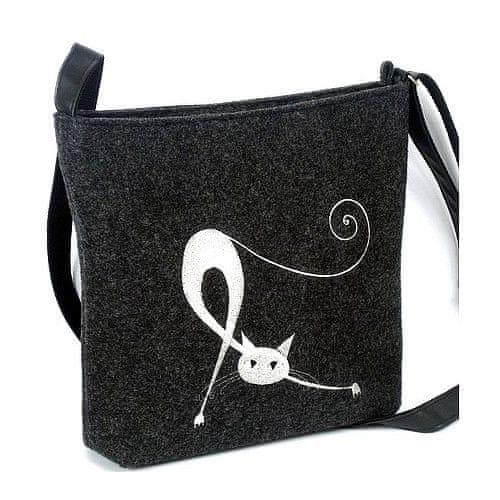 Lecharme Filcová crossbody kabelka EKO Protahující se kočka