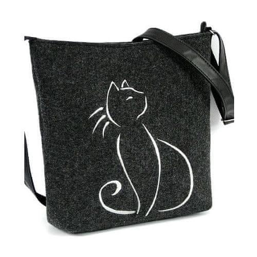 Lecharme Filcová crossbody kabelka EKO Sedící kočka