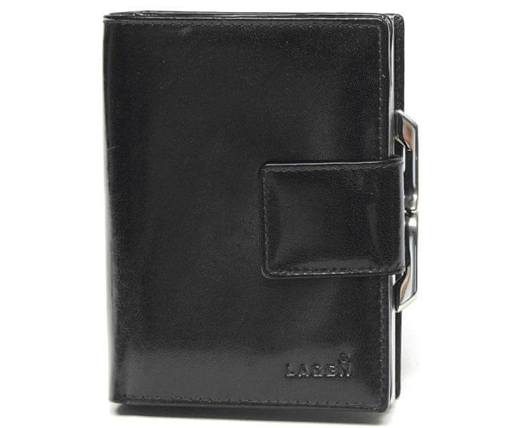 Lagen Dámská černá kožená peněženka Black LM-261