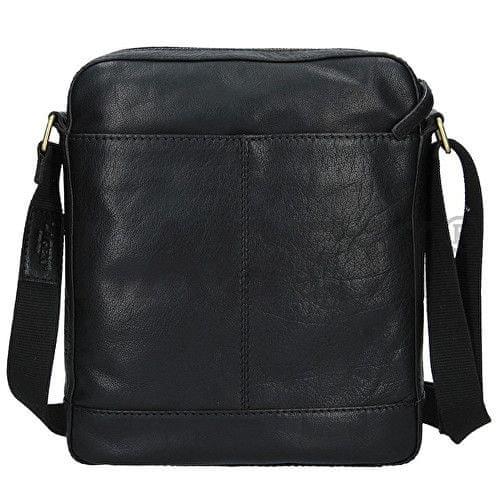 Lagen Pánská černá kožená taška přes rameno LN-22013