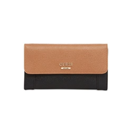 Guess Peněženka Huntley Slim Clutch Wallet Brown/black