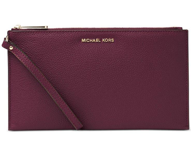 Michael Kors Fialová kožená kabelka Studio Mercer Large Zip Clutch