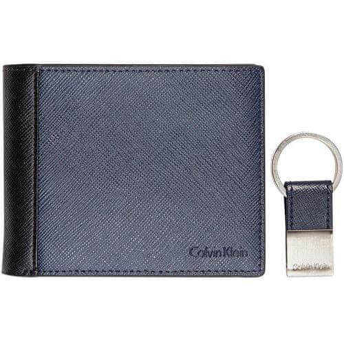 Calvin Klein Pánská modrá peněženka s klíčenkou Saffiano Leather Two-Tone Bifold Wallet & Key Fob