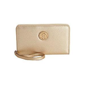 Tommy Hilfiger Dámská zlatá peněženka Pebble Leather Carryall Wristlet
