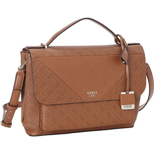 Guess Dámská kabelka GUESS Cammie Top Handle Flap Crossbody brown